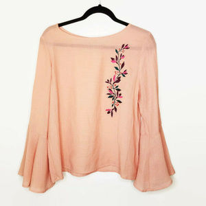 Peach Embroidered Bell Sleeve Peasant Top